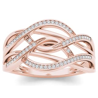 De Couer 10k Rose Gold 1/6ct TDW Diamond Swirling Fashion Ring - Pink|https://ak1.ostkcdn.com/images/products/10335150/P17445262.jpg?impolicy=medium