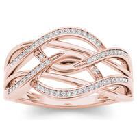 De Couer 10k Rose Gold 1/6ct TDW Diamond Swirling Fashion Ring - Pink