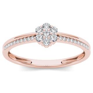 De Couer 10k Rose Gold 1/5ct TDW Diamond Cluster Fashion Ring