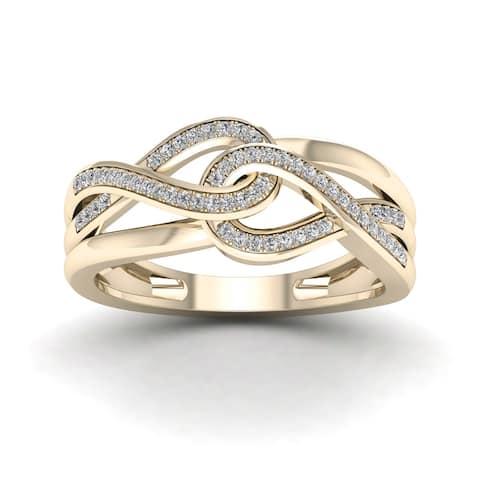 De Couer 10k Yellow Gold 1/6ct TDW Diamond Infinity Braided Ring
