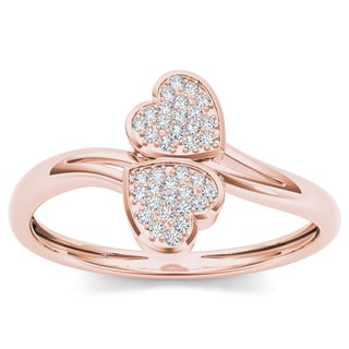 De Couer 10k Rose Gold 1/20ct TDW Diamond Two Heart Wrap Ring