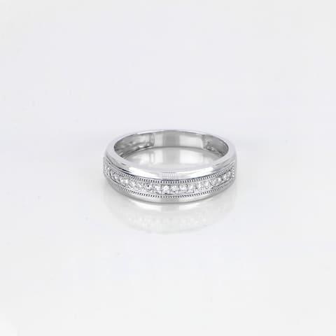 De Couer IGI Certified 10k White Gold 1/4ct TDW Men's Wedding Band