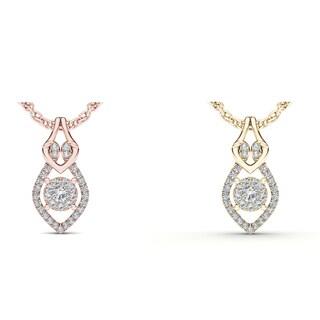 De Couer 10k Gold 1/6ct TDW Diamond Teardrop Necklace (H-I, I2)