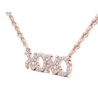 De Couer 10k Gold 1/6ct TDW Diamond X-O Necklace (H-I, I2)