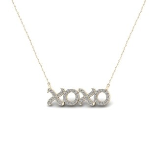 De Couer 10k Gold 1/6ct TDW Diamond X-O Necklace (H-I, I2)