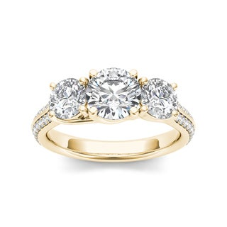 De Couer 14k Yellow Gold 2 1/4ct TDW Diamond Three-Stone Anniversary Ring
