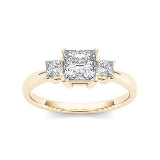 De Couer 14k Yellow Gold 1 1/4ct TDW Diamond Three-Stone Anniversary Ring