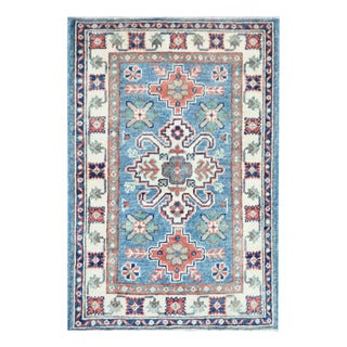 Herat Oriental Afghan Hand-knotted Tribal Vegetable Dye Kazak Light Blue/ Ivory Wool Rug (2'1 x 3')