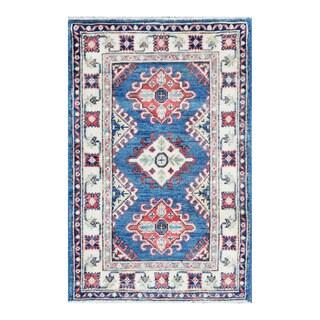Herat Oriental Afghan Hand-knotted Tribal Vegetable Dye Kazak Blue/ Ivory Wool Rug (1'11 x 2'11)