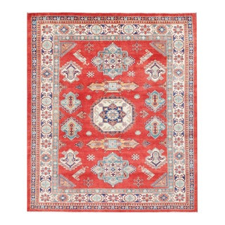 Herat Oriental Afghan Hand-knotted Tribal Vegetable Dye Super Kazak Red/ Ivory Wool Rug (8'3 x 9'9)