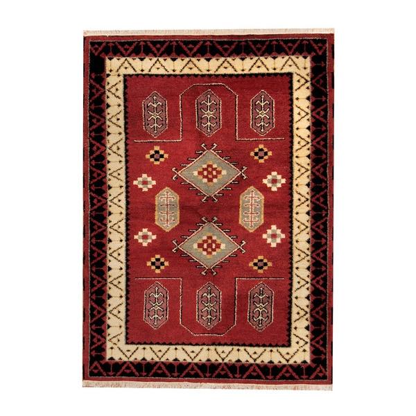 Handmade Herat Oriental Indo Tribal Kazak Wool Rug (India) - 4'5 x 6'