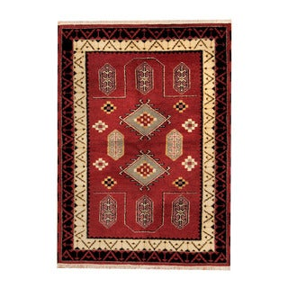 Herat Oriental Indo Hand-knotted Tribal Kazak Red/ Black Wool Rug (4'5 x 6')