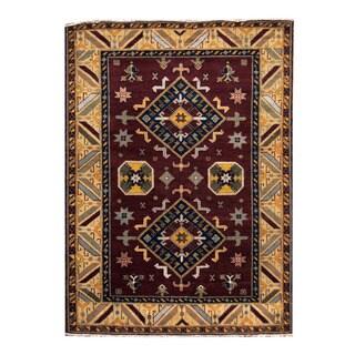 Herat Oriental Indo Hand-knotted Tribal Kazak Burgundy/ Light Green Wool Rug (5'9 x 7'11)