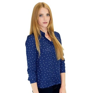 Relished Women's Piper Navy Polka Dot Button-Up