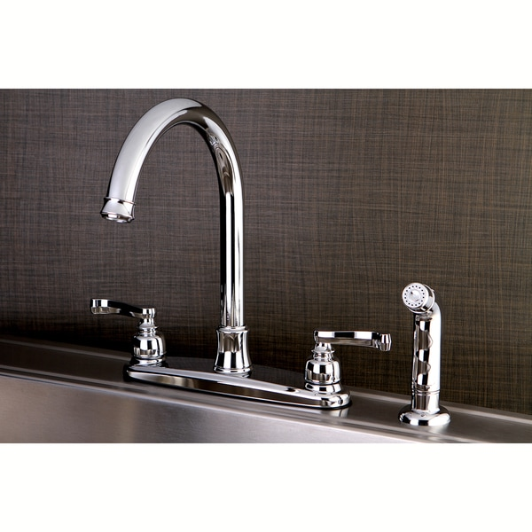 French Chrome Kitchen Faucet with Side Sprayer. Opens flyout.