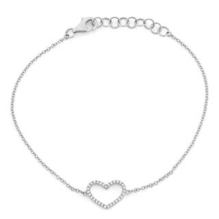 Sterling Silver Diamond Accent Open Heart Chain Bracelet