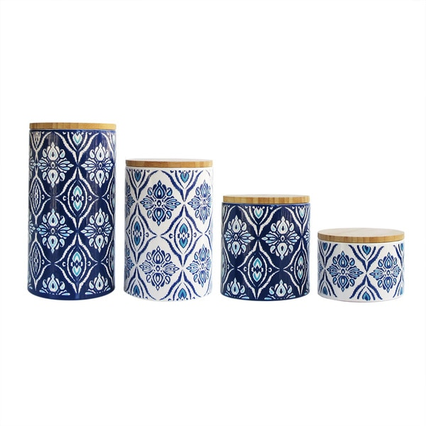 Pirouette Blue and White 4-piece Canister Set - Free ...