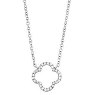 Sterling Silver Diamond Accent Open Clover Geometric Necklace