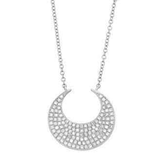Sterling Silver 1/4ct TDW Diamond Wide Crescent Fashion Necklace (G-H, I1-I2)