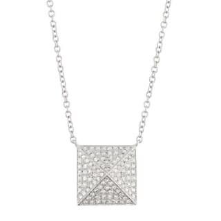 Sterling Silver 1/4ct TDW Diamond Pyramid Geometric Necklace (G-H, I1-I2)