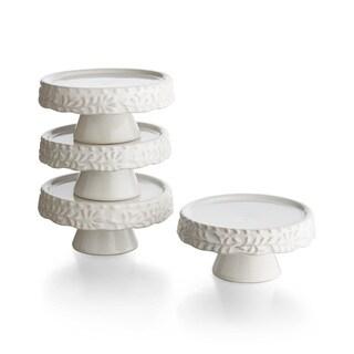 Bianca Leaf Cup Cake Pedestal Plates (Set of 4)
