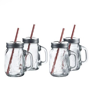 La Maison Mason Jars with Lid and Straw (Set of 4)