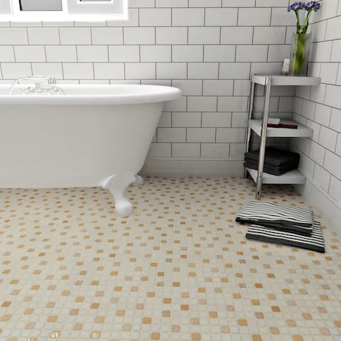 SomerTile 11.75x11.75-inch Scholar Beige Porcelain Mosaic Floor and Wall Tile (10 tiles/9.79 sqft.)