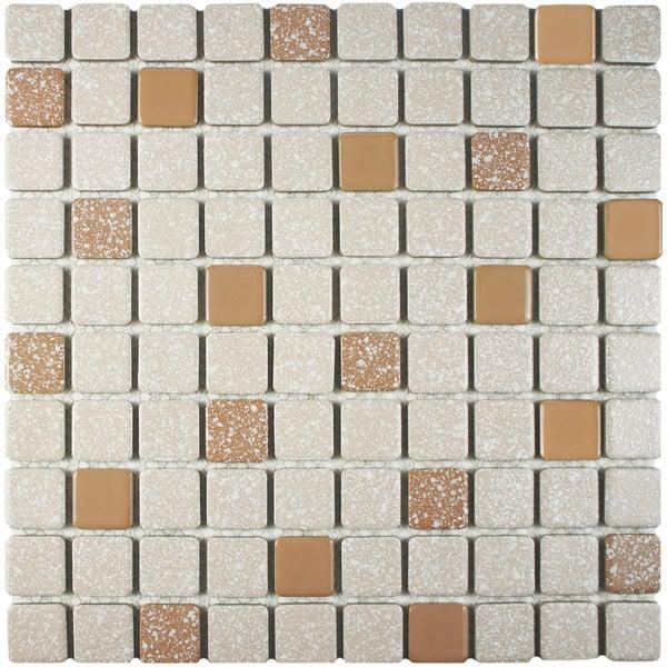 SomerTile FKOSRR91 Plethon Square Porcelain Floor and Wall Tile 11.75 x 11.75 Pink//White