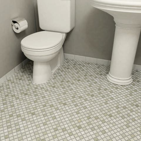 SomerTile 11.75x11.75-inch Scholar Grey Porcelain Mosaic Floor and Wall Tile (10 tiles/9.79 sqft.)
