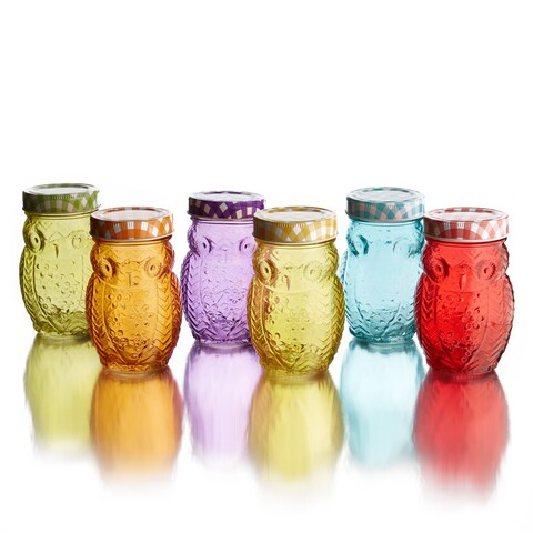 Owl Colored Jars with Lid (Set of 6)