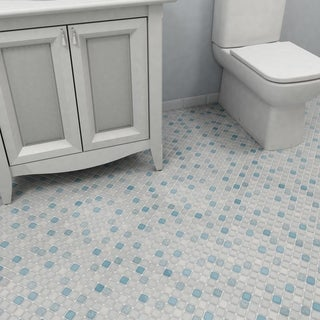 Link to SomerTile 11.75x11.75-inch Scholar Square Blue Porcelain Mosaic Floor and Wall Tile (10 tiles/9.79 sqft.) Similar Items in Tile