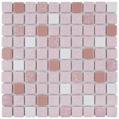 SomerTile 11.75x11.75-inch Scholar Pink Porcelain Mosaic Floor and Wall Tile (10 tiles/9.79 sqft.)