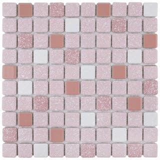 Somertile 11 75x11 75 Inch Scholar Pink Porcelain Mosaic Floor And Wall Tile