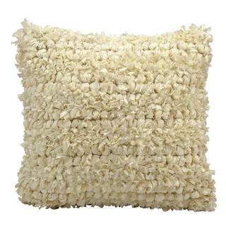 Mina Victory Lifestyle Shiny Shag and Loop Ivory Throw Pillow (20-inch x 20-inch) by Nourison