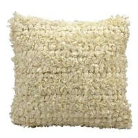 Mina Victory Lifestyle Shiny Shag and Loop Ivory Throw Pillowby Nourison (20-Inch X 20-Inch)