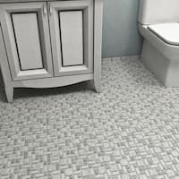 SomerTile 11.75x11.75-inch Collegiate Grey Porcelain Mosaic Floor and Wall Tile (10 tiles/9.79 sqft.)