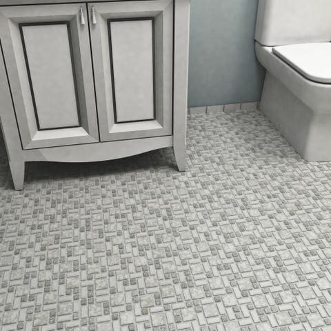 SomerTile 11.75x11.75-inch Collegiate Grey Porcelain Mosaic Floor and Wall Tile (10 tiles/9.79 sqft.)