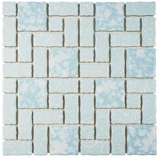 SomerTile 11.75x11.75-inch Collegiate Blue Porcelain Mosaic Floor and Wall Tile (Case of 10)