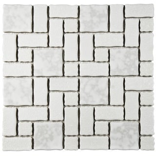 SomerTile 11.75x11.75-inch Collegiate White Porcelain Mosaic Floor and Wall Tile (Case of 10)