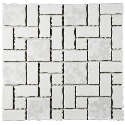 "SomerTile Academy White 11.75"" x 11.75"" Porcelain Mosaic Tile"