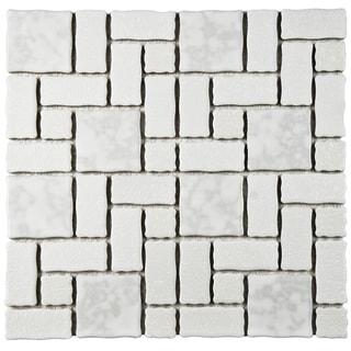 SomerTile 11.75x11.75-inch Collegiate White Porcelain Mosaic Floor and Wall Tile (10 tiles/9.79 sqft.)