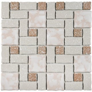 SomerTile 11.75x11.75-inch Collegiate Beige Porcelain Mosaic Floor and Wall Tile (Case of 10)