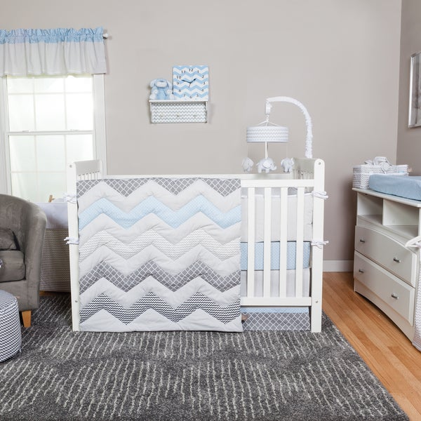shop trend lab blue taffy chevron 3 piece crib bedding set. Black Bedroom Furniture Sets. Home Design Ideas
