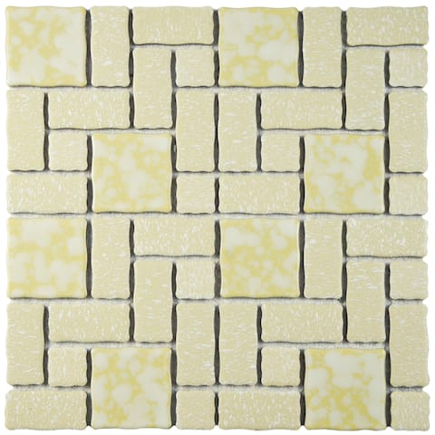 SomerTile 11.75x11.75-inch Collegiate Gold Porcelain Mosaic Floor and Wall Tile (10 tiles/9.79 sqft.)