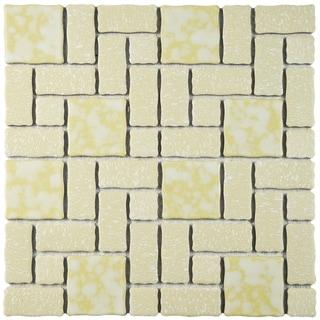 SomerTile 11.75x11.75-inch Collegiate Gold Porcelain Mosaic Floor and Wall Tile (10 tiles/9.79 sqft.)