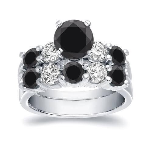Auriya 4ctw 5-Stone Black Diamond Engagement Ring Set 14k White Gold