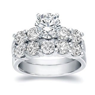 Auriya 14k White Gold 3 1/2ct TDW Certified Round-cut Diamond Bridal Ring Set