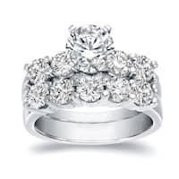 Auriya 14k White Gold 3 1/2ct TDW Certified Round-cut Diamond Bridal Ring Set