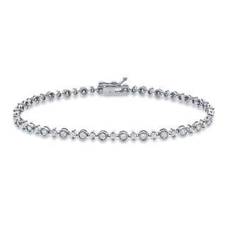 Auriya 14k White Gold 2ct TDW Round Diamond Tennis Link Bracelet