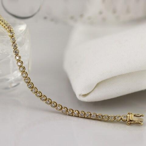 14k Gold 2 Carat TDW 7-inch Round Diamond Tennis Bracelet